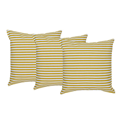 Set of 3 Cotton Striped Cushion Cover