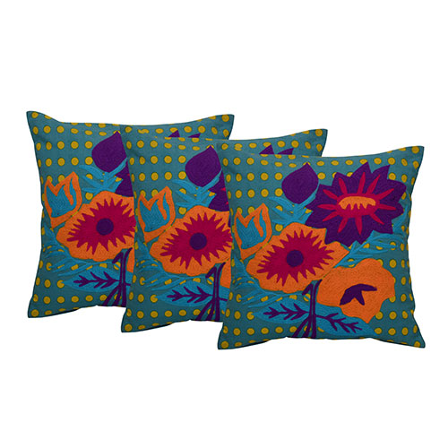 Set of 3 Aari Embroidered Cotton Cushion Cover