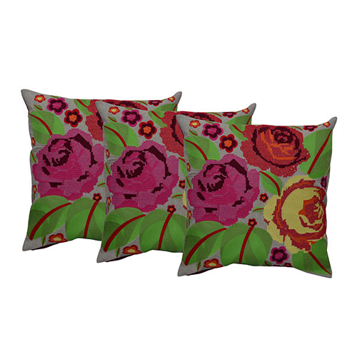 Set of 3 Cotton Machine Rose Flower Embroidered Cushion Cover