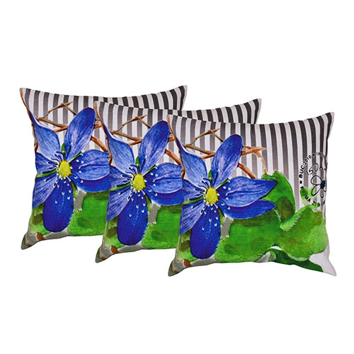 Set of 3 Machine Embroidered Dupion Silk Cushion Cover