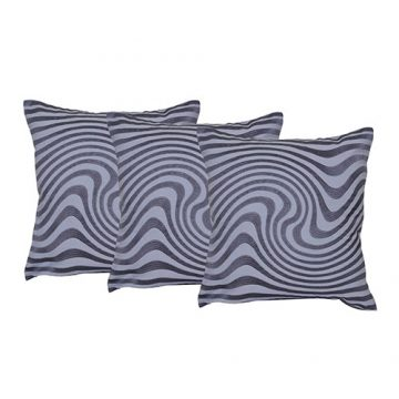 Set of 3 Cotton Machine Embroidered Cotton Grey Color Cushion Cover
