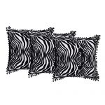 Set of 3 Cotton Aari Embroidered Cotton Black & White Color Cushion Cover