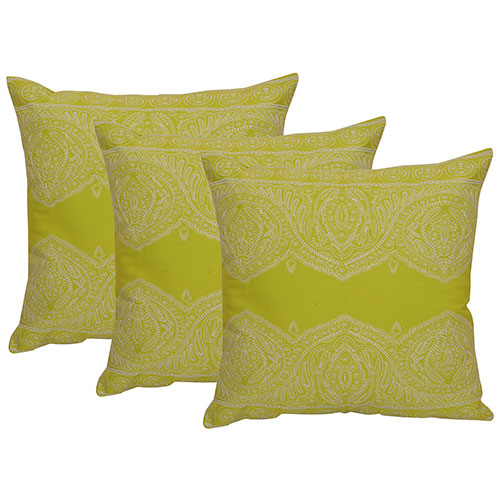 Set of 3 Machine Embroidered Olive Green Cotton Cushion Cover