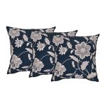 Set of 3 Blue and Beige Embroidered Cotton Cushion Cover