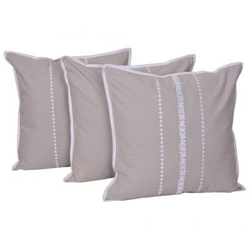 Set of 3 Embroidered Beige Color Cotton Cushion Cover