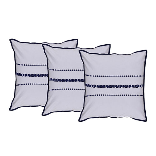 Set of 3 Machine Embroidered Cotton Cushion Cover