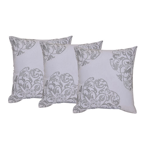 Set of 3 Machine Embroidered Grey Cotton Cushions Cover