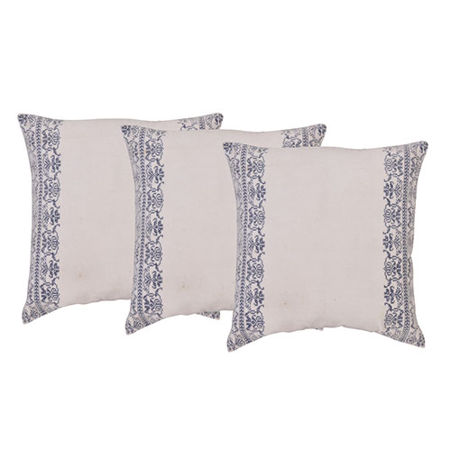 Set of 3 White and Blue Velvet Cotton Cushion Cover