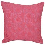 Set of 3 Contemporary Lace Pink Cotton Cushion Cover