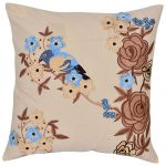 Set of 3 3d embroidered  organic Cotton duck  Cushion Cover