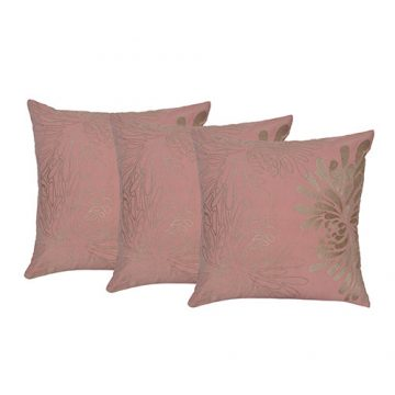 Set of 3 Beige Color Cotton Embroidered Cushion Cover
