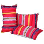 Set of 3 Embroidered Cotton Cushion Covers