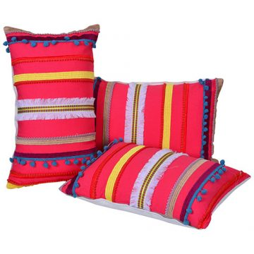 Set of 3 Multicolor Embroidered Cotton Pillow Covers