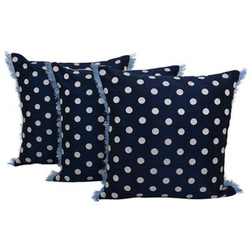 Set of 3 White Polka Dot Print Blue Cotton Cushion Cover