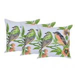 Set of 3 Couple Bird Print Cotton Cushion Cover