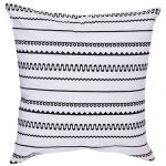 Set of 3 Embroidered Black & White Cotton Cushion Cover