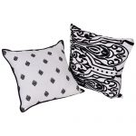 Black and White Set of 2 Mix Match Cotton Cushion Cover