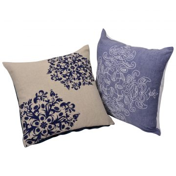 Set of 2 Multi Color Chambray Velvet Cotton Cushion covers