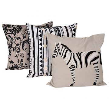 Set of 3 Mix match Zebra Print Cotton Cushion Cover
