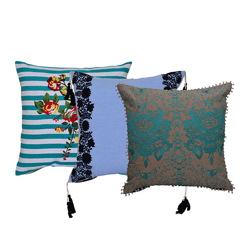 Set of 3 Multicolor Cotton & Velvet Cushion Covers