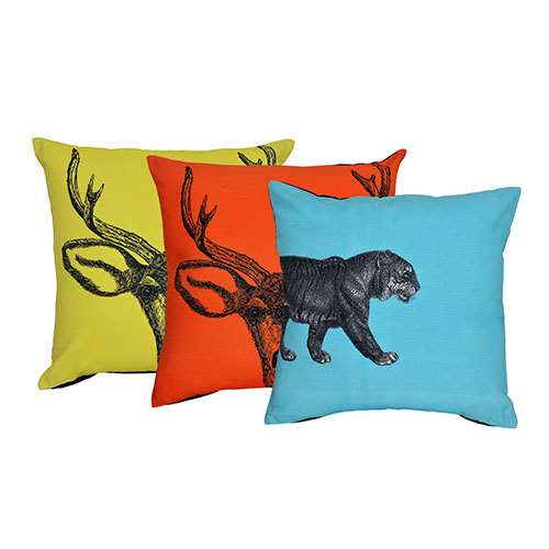 Set of 3 Multicolor Digital Printed Cushion Covers