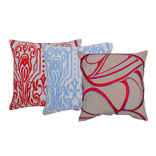 Set of 3 Multi Color Embroidery Cotton Cushion Cover