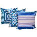 Set of 3 Mix match Multi Color & Blue Cotton Cushion Cover