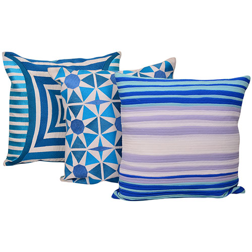 Set of 3 Mix match Multi Color & Blue Cotton Cushion Cover