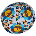 Multicolor Flowers Embroidery Round Organic Cotton Cushion Cover