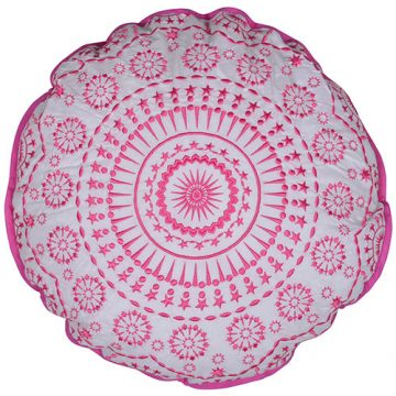 Pink Embroidered Round Cotton Cushion Cover