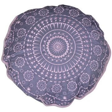 Grey Round Cambric Cotton Cushion Cover