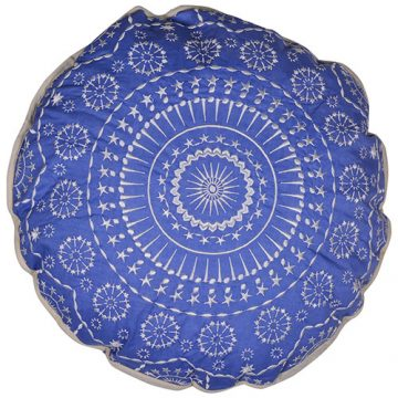 Blue Round Cambric Cotton Cushion Cover