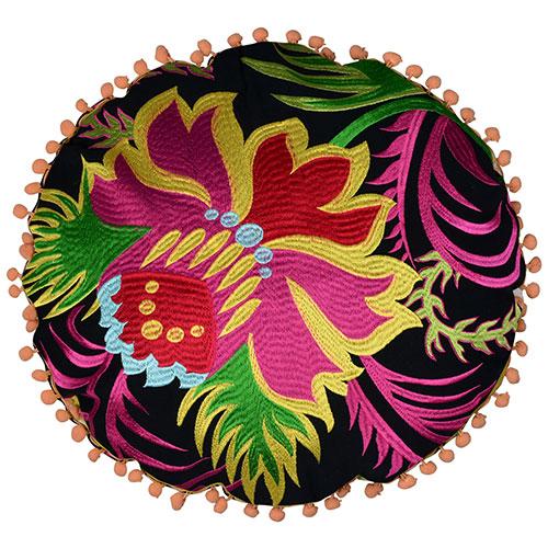 Round Multi Color Organic Cotton Cushion cover