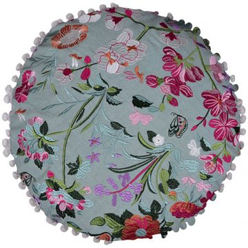 Multi Color Round Flower Print Organic Cotton Cushion Cover