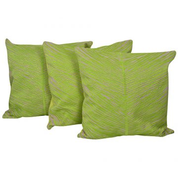 Set of 3 Cotton Embroidered Light Green Cushion Cover