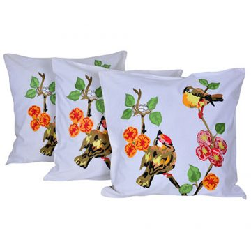 Set of 3 Cotton Embroidered White Cushion Cover