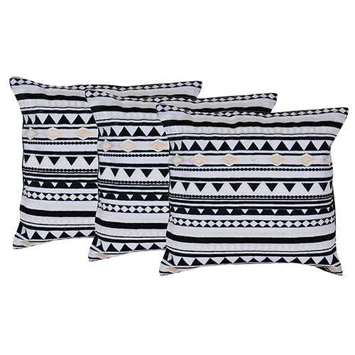 Set of 3 Cotton Black and White Embroidered Cushion Cover