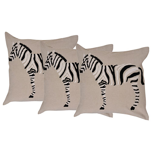 Set of 3 Embroidered Multi Color Cotton Cushion Cover