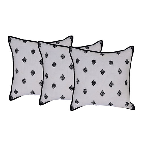 Set of 3 Cotton Embroidered Cushion Cover