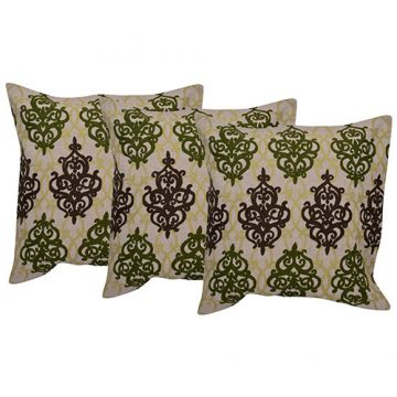 3 Beige Color Embroidered Cotton Cushion Cover Set