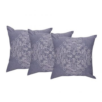Set of 3 Cotton Embroidered Design Cushion Cover