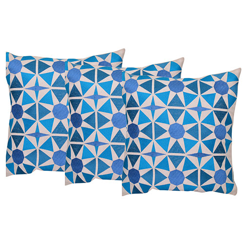 Set of 3 Dupion Silk Digital Printed Cushion Cover