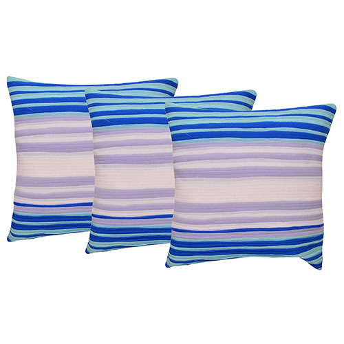 Set of 3 Cotton Blue & White Strips Cushion Cover