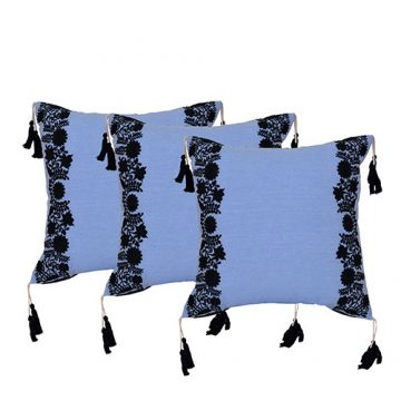 Set of 3 Cotton Embroidered Black and Blue Cushion Cover