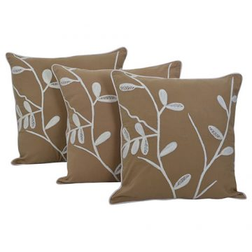 Set of 3 Beige Cotton Sheeting Embroidered Cushion Cover