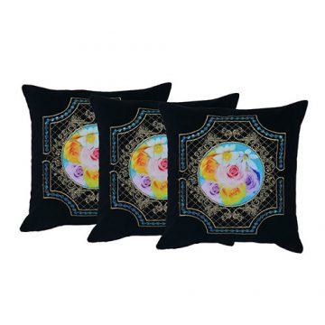 Set of 3 Embroidered Dupion & Velvet Cushion Cover
