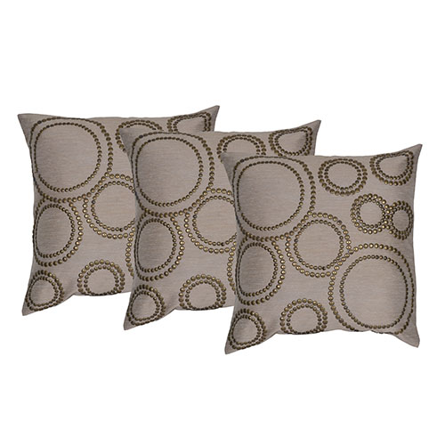 Set of 3 Cotton Hand Work Cushion Cover