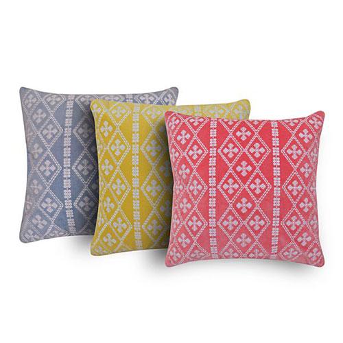 Set of 3 Multi Color Contemporary Velvet Cushion Cover
