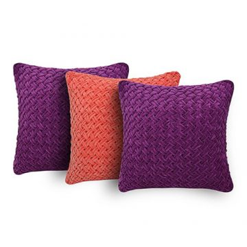 Set of 3 Purple and Peach velvet cushion cover