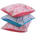 Set of 3 Multi Color Raw Silk and Chiffon Cushion Cover